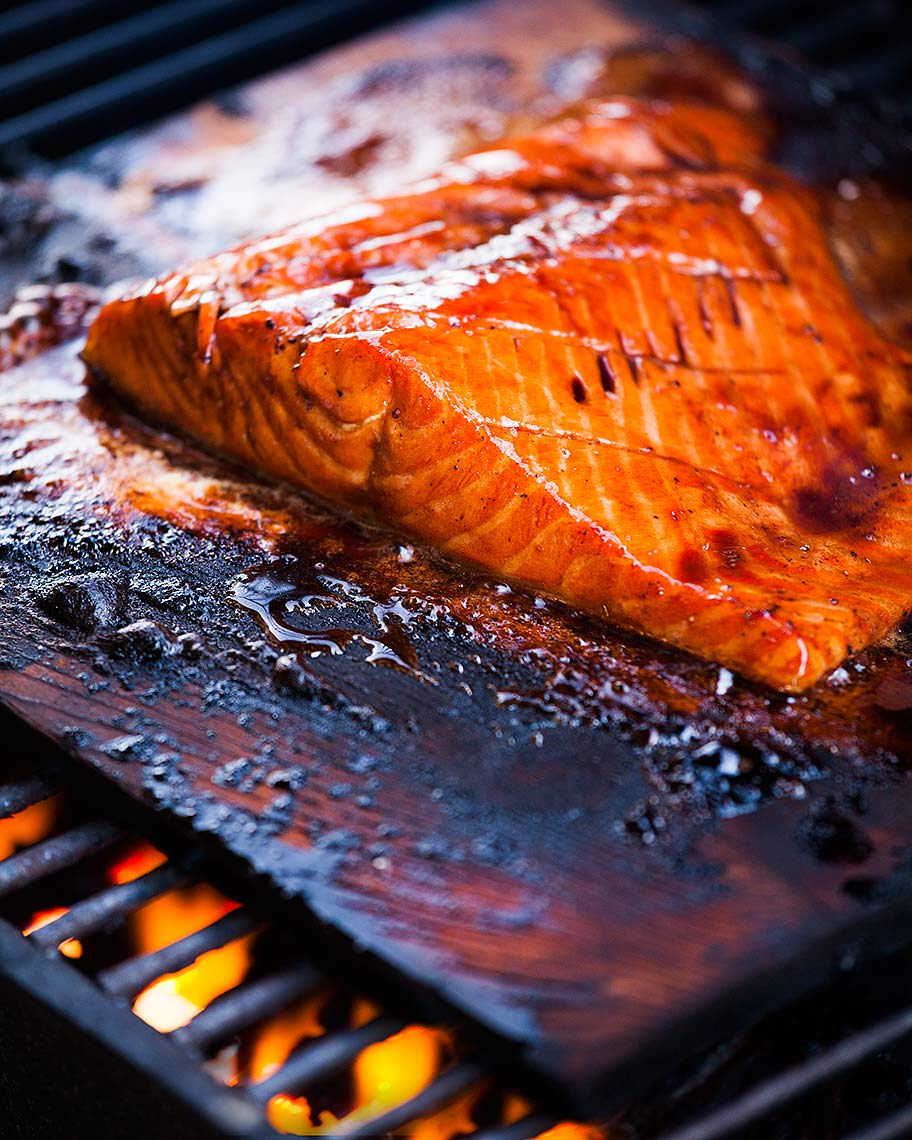 Cedar plank grilled salmon - by food photographer Jason Tinacci